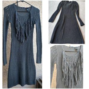 Moda International Gray Crochet Sweater Dress XS